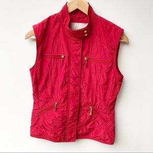 Zara Red Sleeveless Quilted Full Zip Vest Jacket